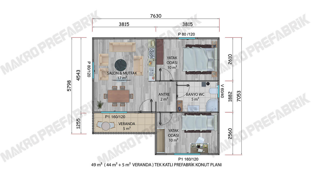 Prefabrik Ev 49 m² Planı