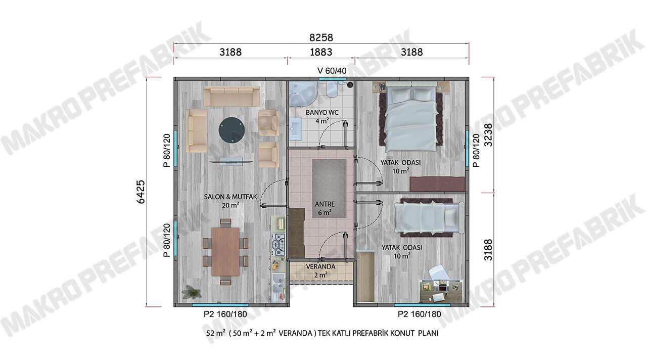 Prefabrik Ev 52 m² Zemin Kat Planı