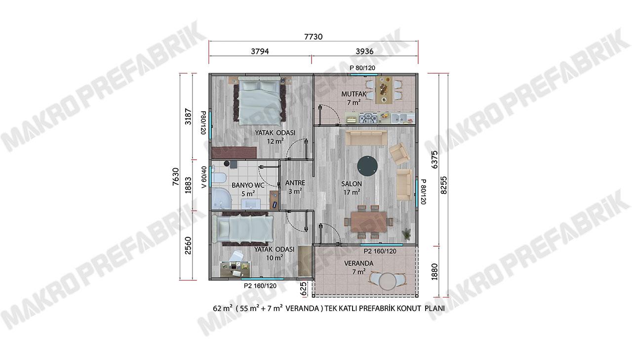 Prefabrik Ev 62 m² Planı