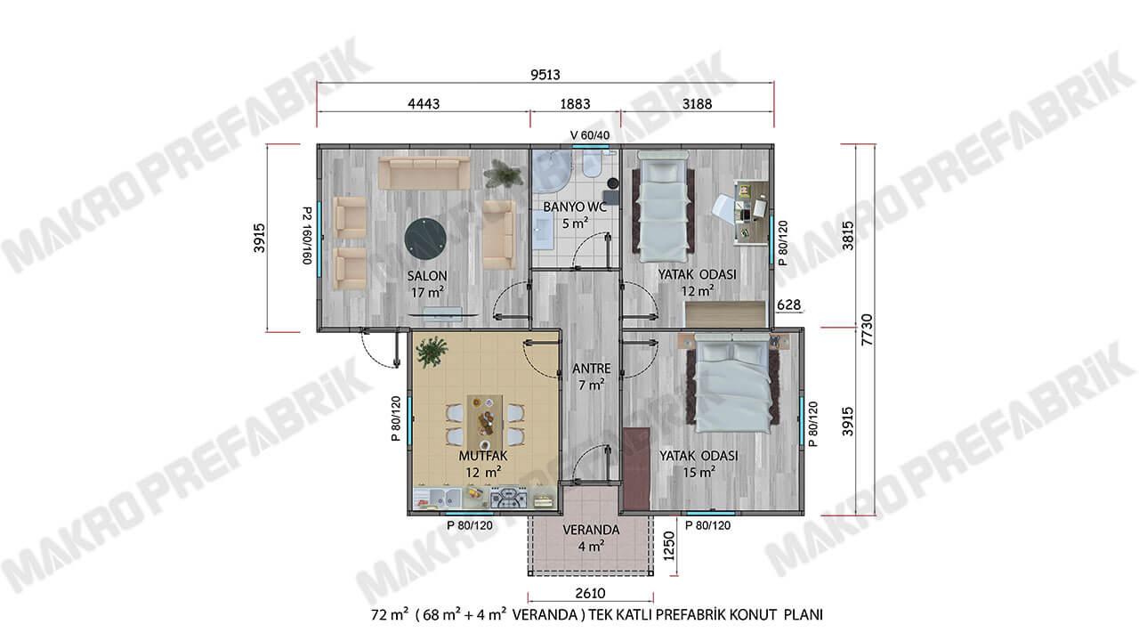Prefabrik Ev 72 m² Planı