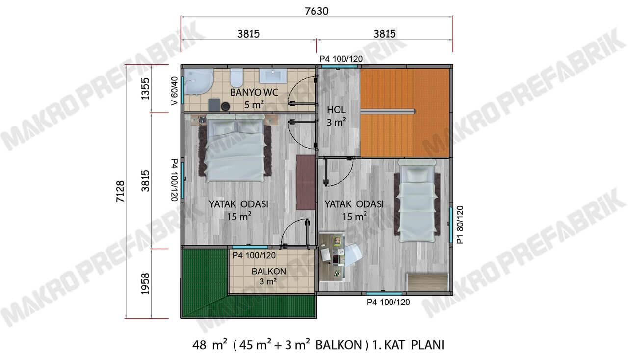 Prefabrik Villa 100 m² K1 Planı 2
