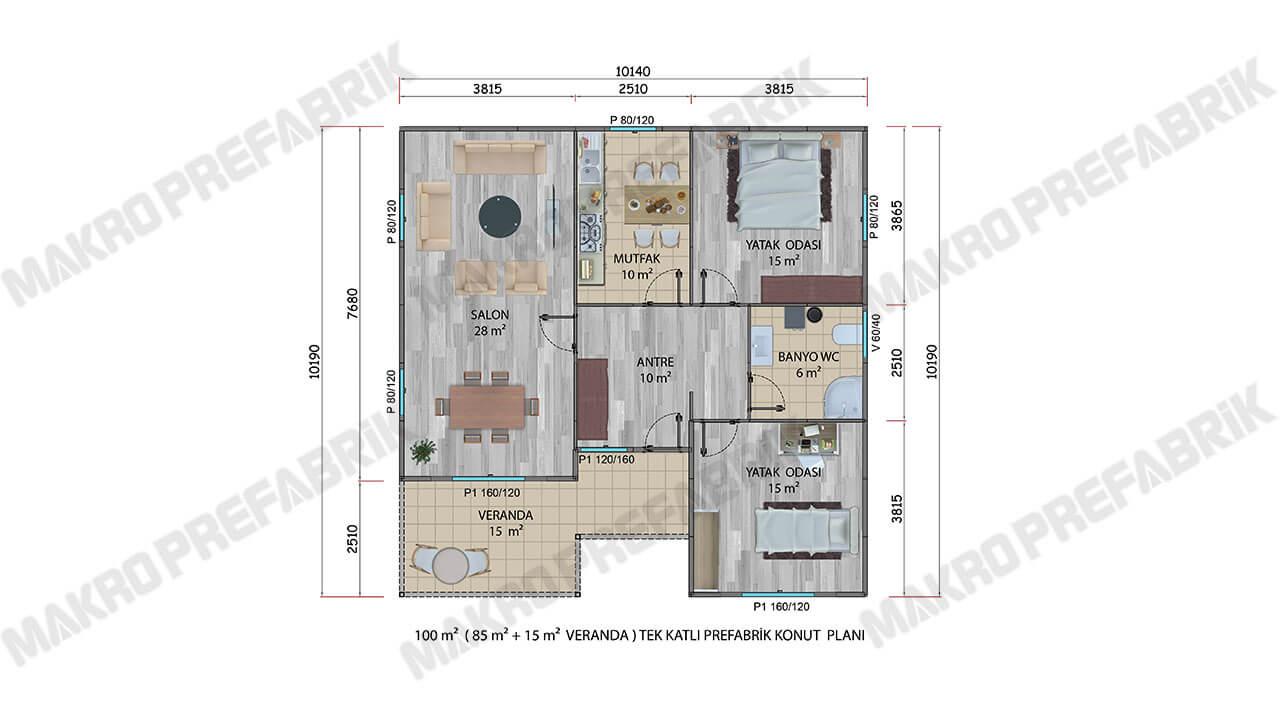 Prefabrik Villa 100 m² Planı