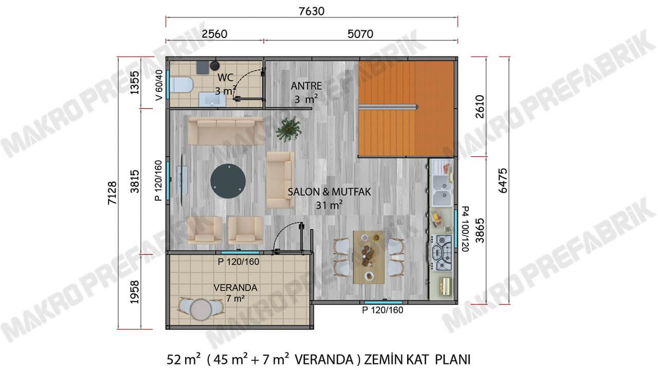 Prefabrik Villa 100 m² Zemin Katı 2