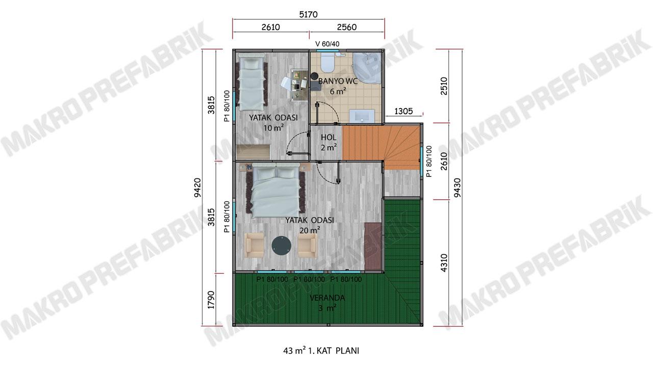 Prefabrik Villa 101 m² K1 Planı 2