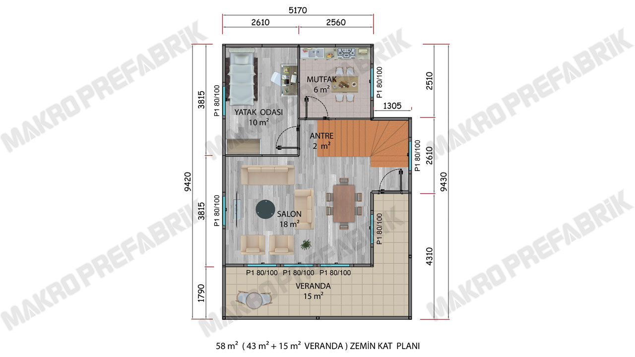 Prefabrik Villa 101 m² Z Planı 2