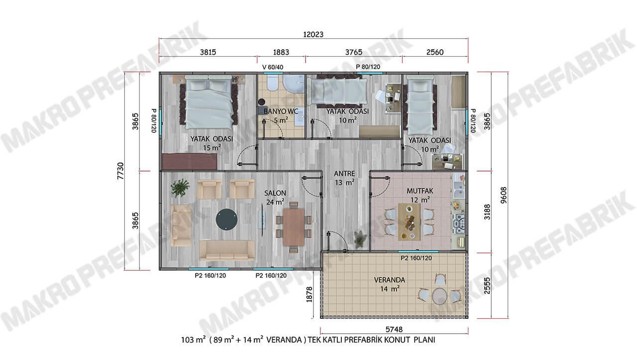 Prefabrik Villa 103 m² Planı