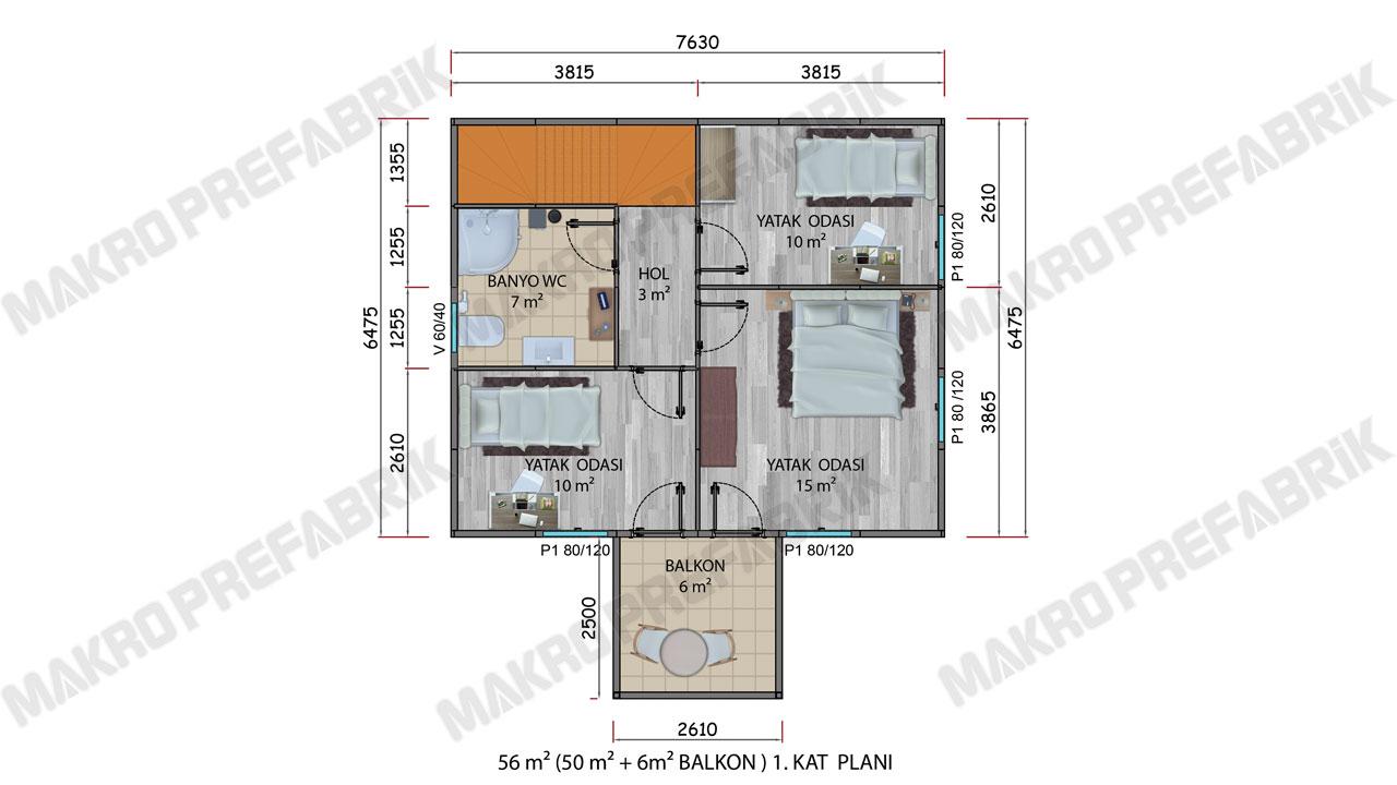 Prefabrik Villa 114 m² Kat 1 Planı 2