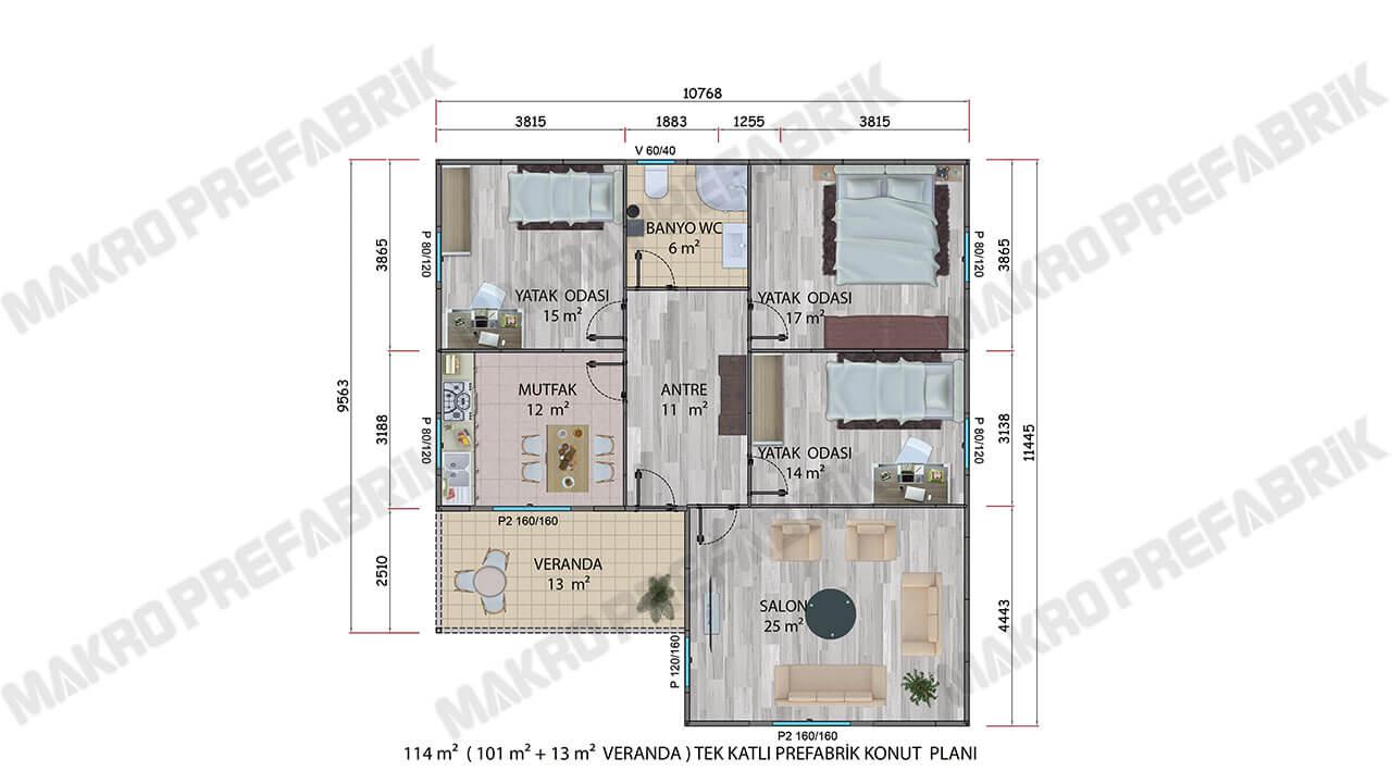 Prefabrik Villa 114 m² Planı