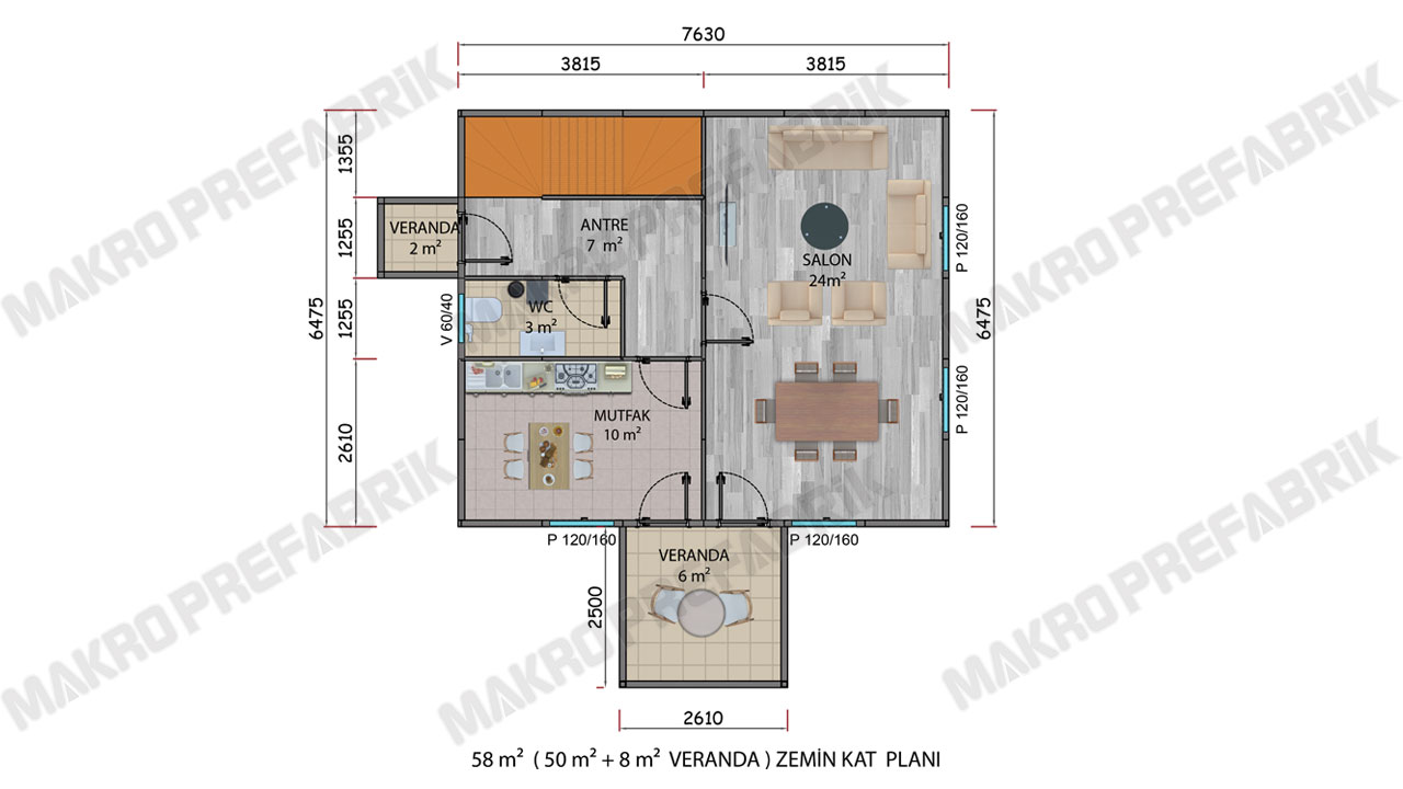 Prefabrik Villa 114 m² ZKat Planı 2