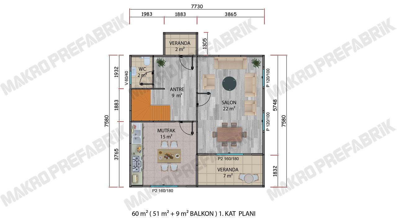 Prefabrik Villa 122 m² Kat 1 Planı 2