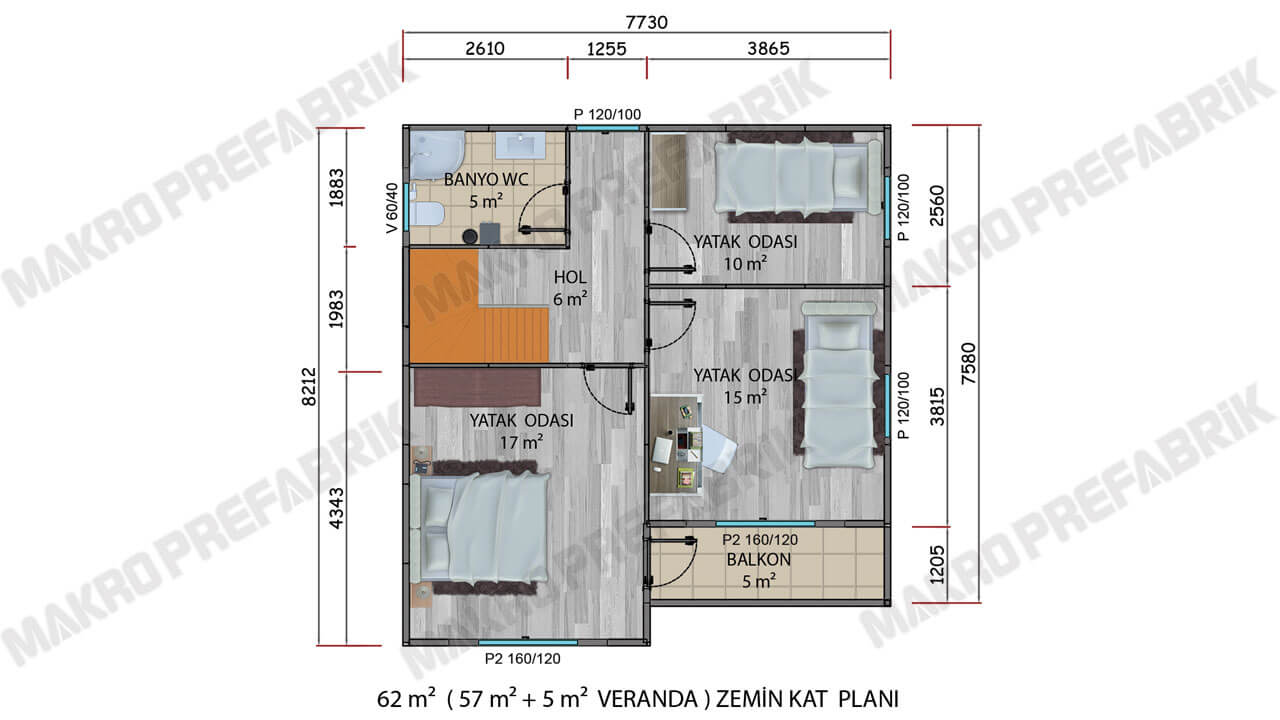 Prefabrik Villa 122 m² ZKat Planı 2
