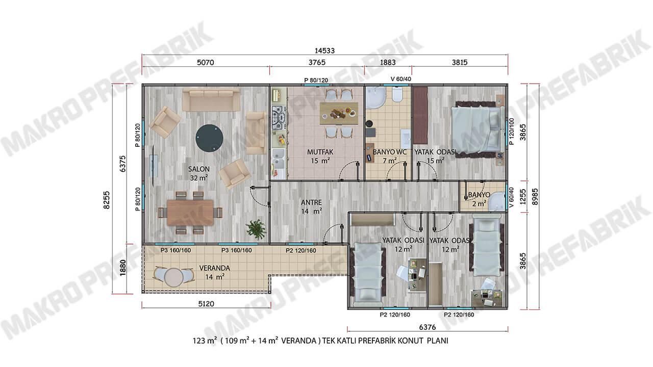 Prefabrik Villa 123 m² Planı