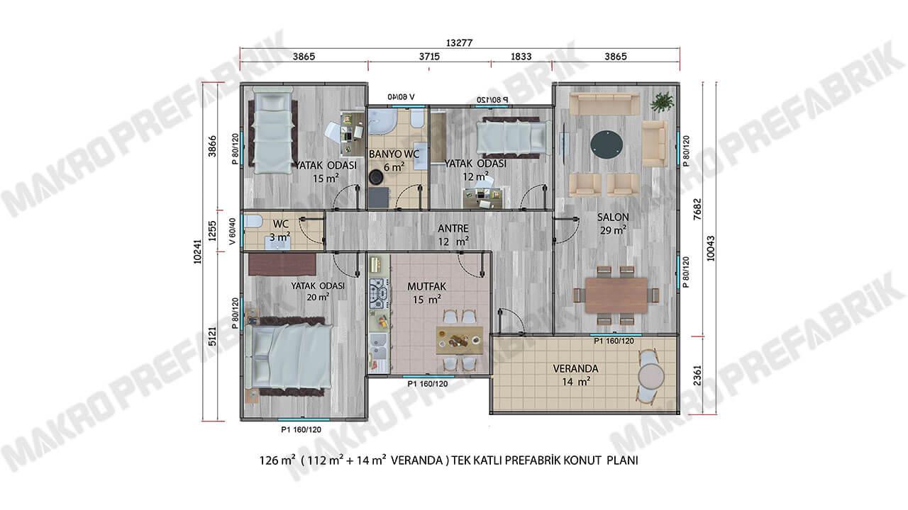 Prefabrik Villa 126 m² Planı