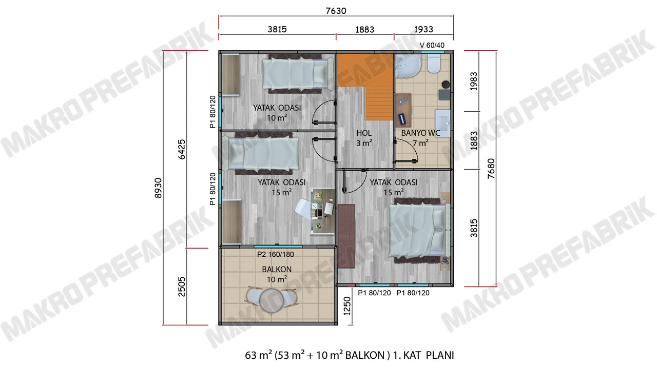 Prefabrik Villa 128 m² Kat 1 Planı 2