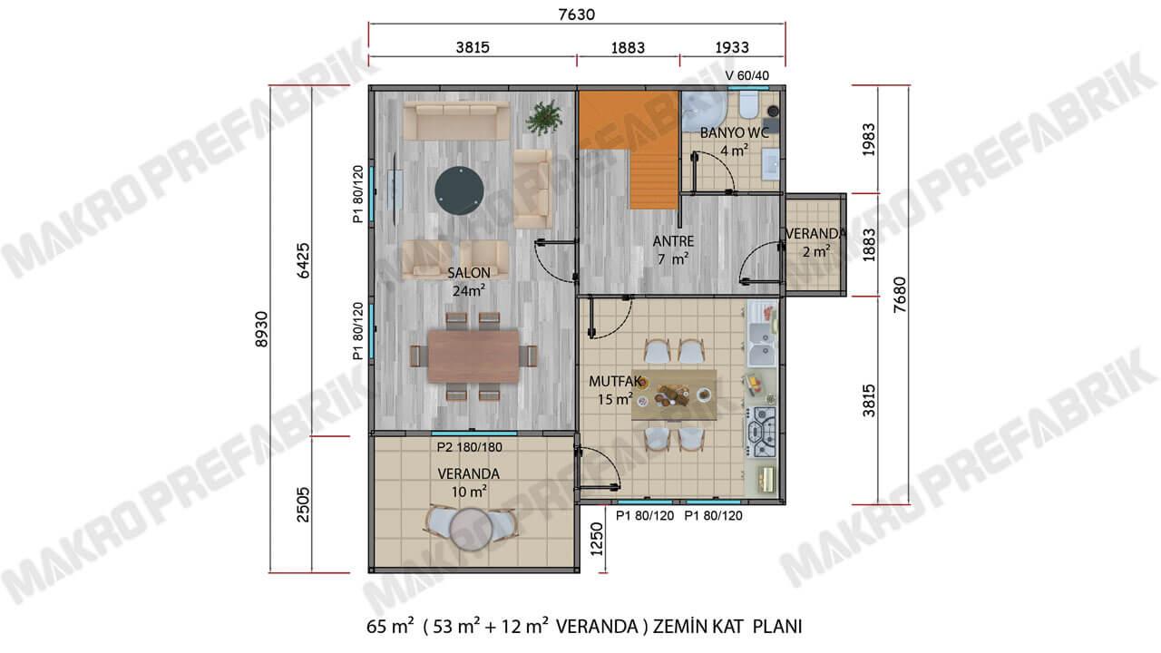 Prefabrik Villa 128 m² Zkat Planı 2