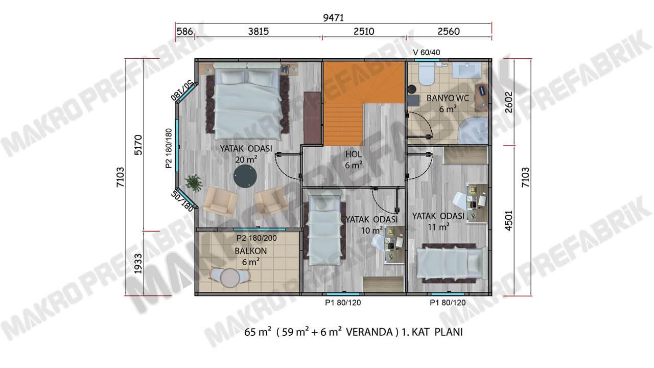 Prefabrik Villa 131 m² Kat 1 Planı 2