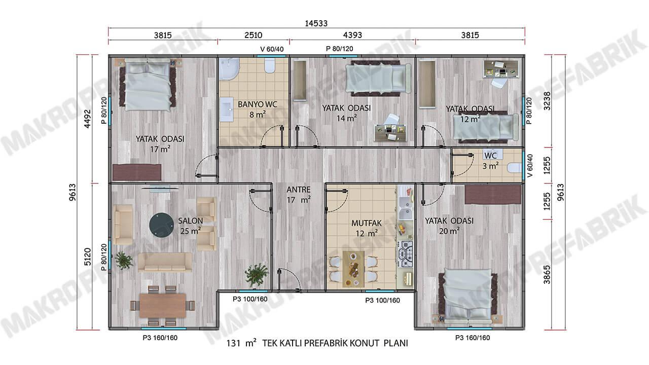 Prefabrik Villa 131 m² Planı