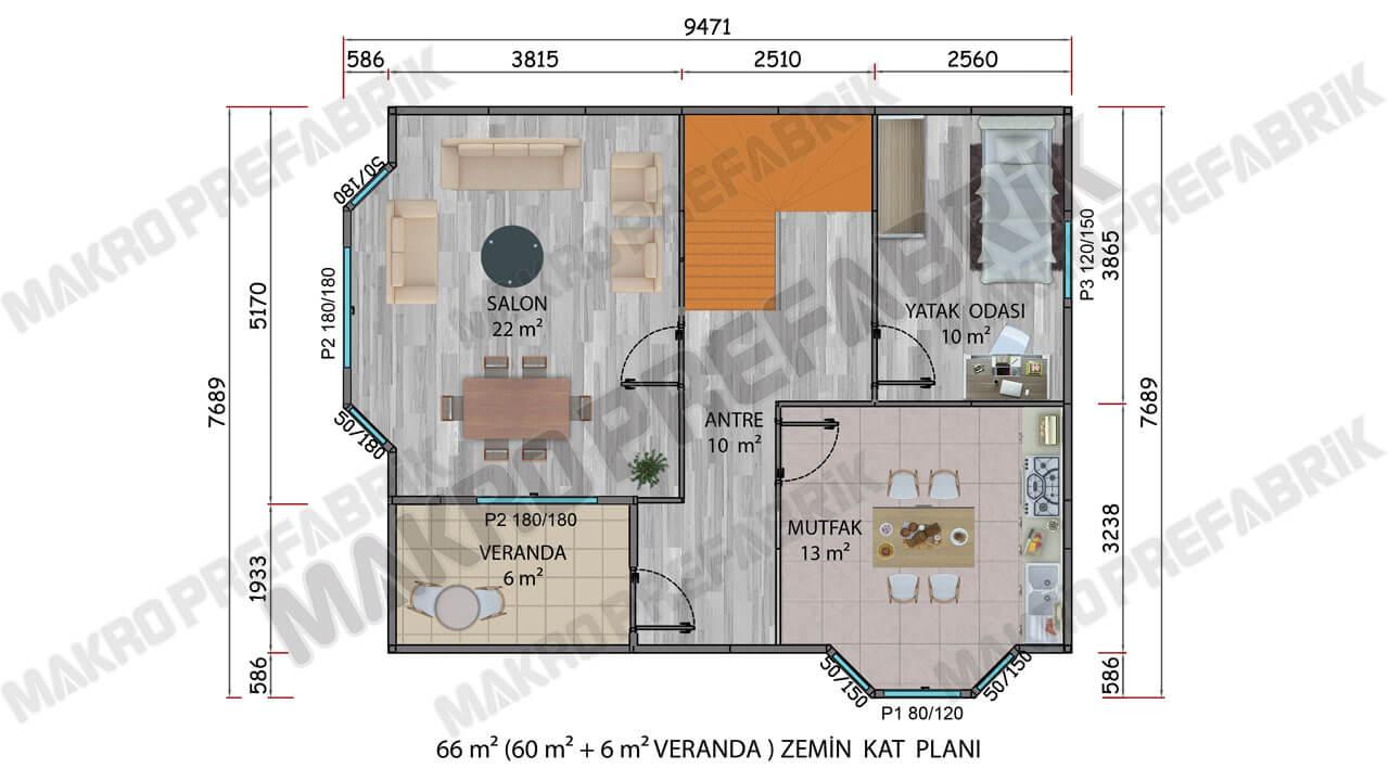 Prefabrik Villa 131 m² ZKat Planı 2