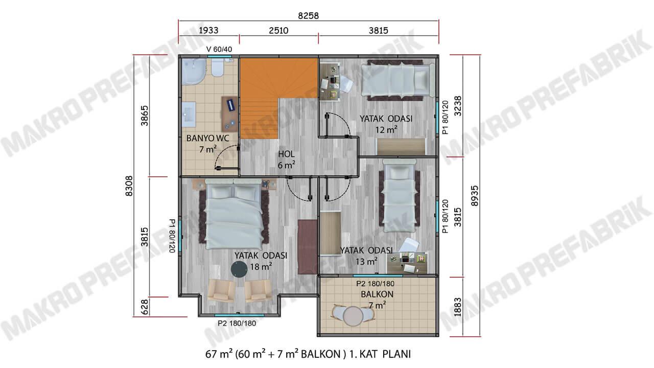 Prefabrik Villa 136 m² Kat 1 Planı 2