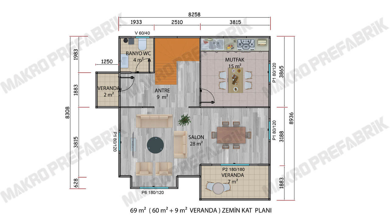 Prefabrik Villa 136 m² ZKat Planı 2