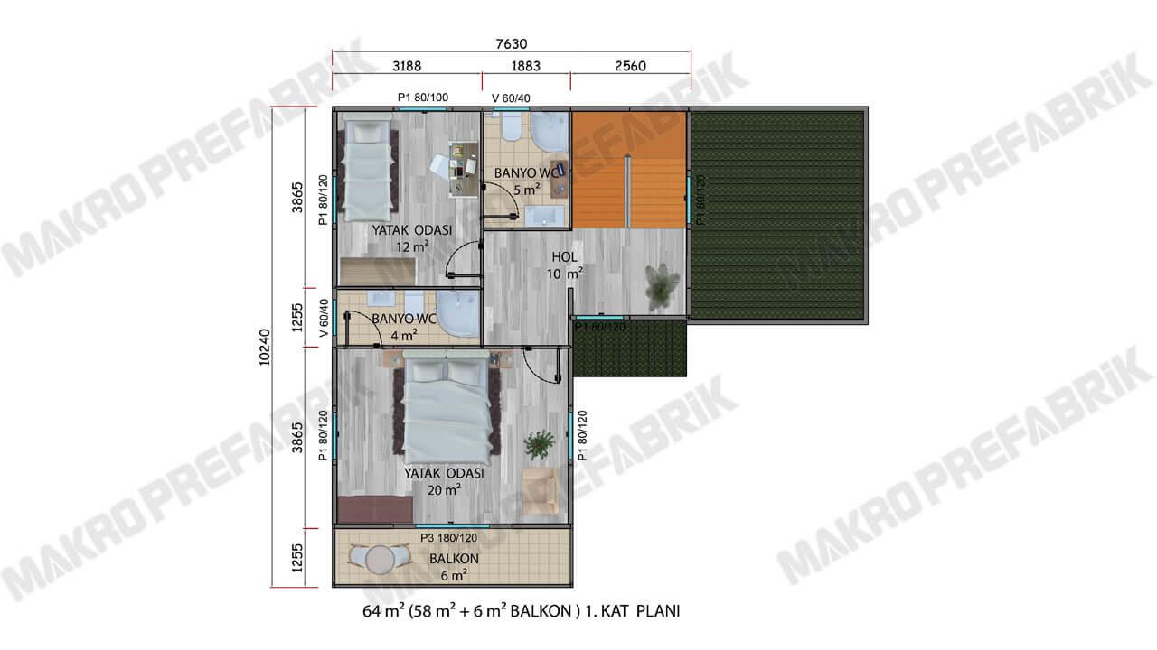Prefabrik Villa 145 m² Kat 1 Plan 2