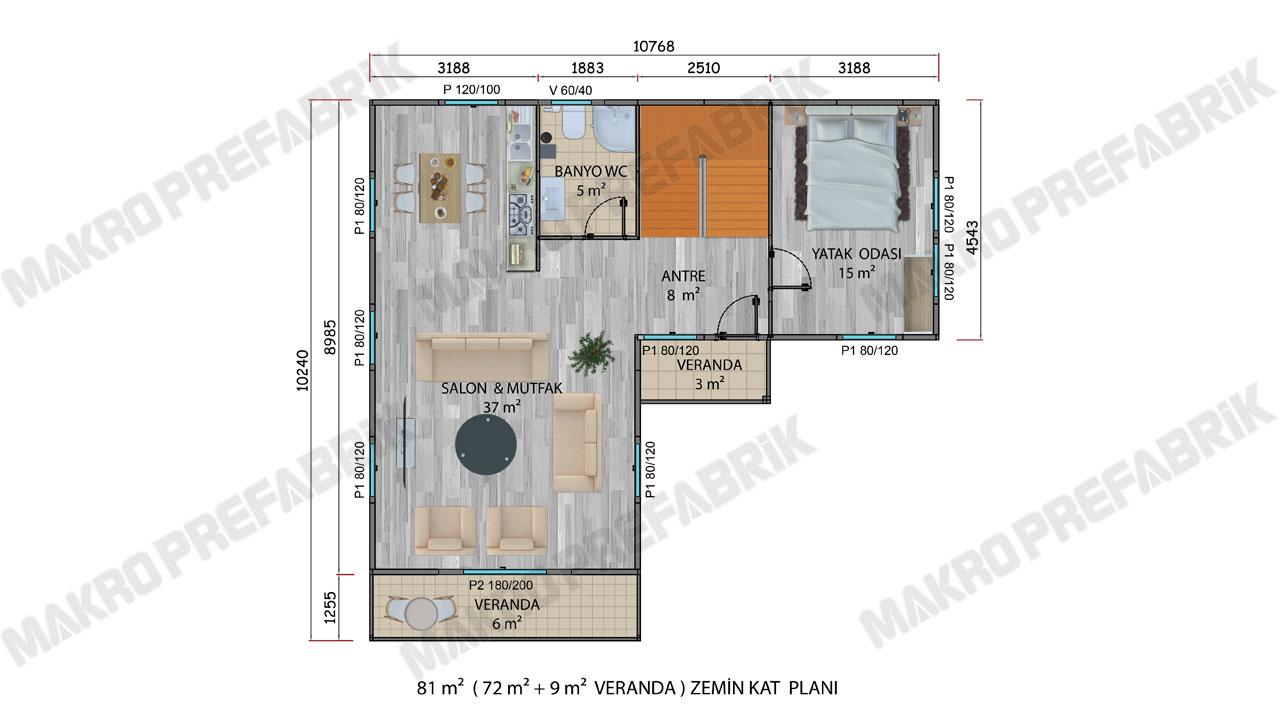 Prefabrik Villa 145 m² ZKat Planı 2