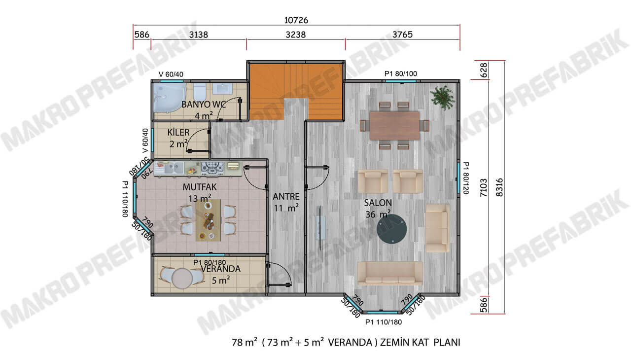 Prefabrik Villa 155 m² Z Kat Planı 2
