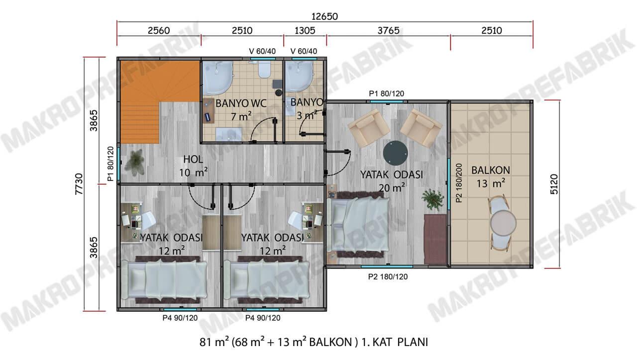 Prefabrik Villa 165 m² Kat 1 Planı 2