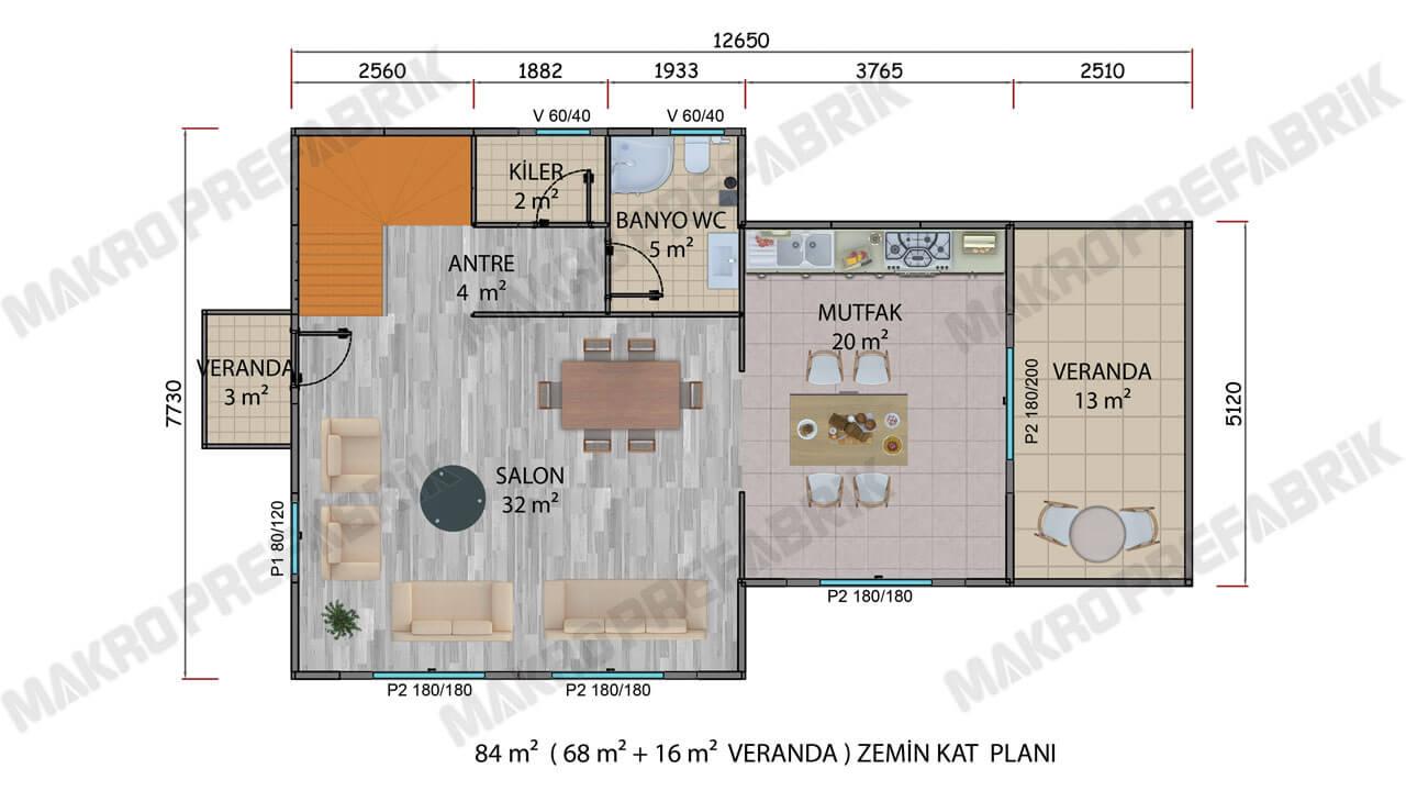 Prefabrik Villa 165 m² Z Kat Planı 2