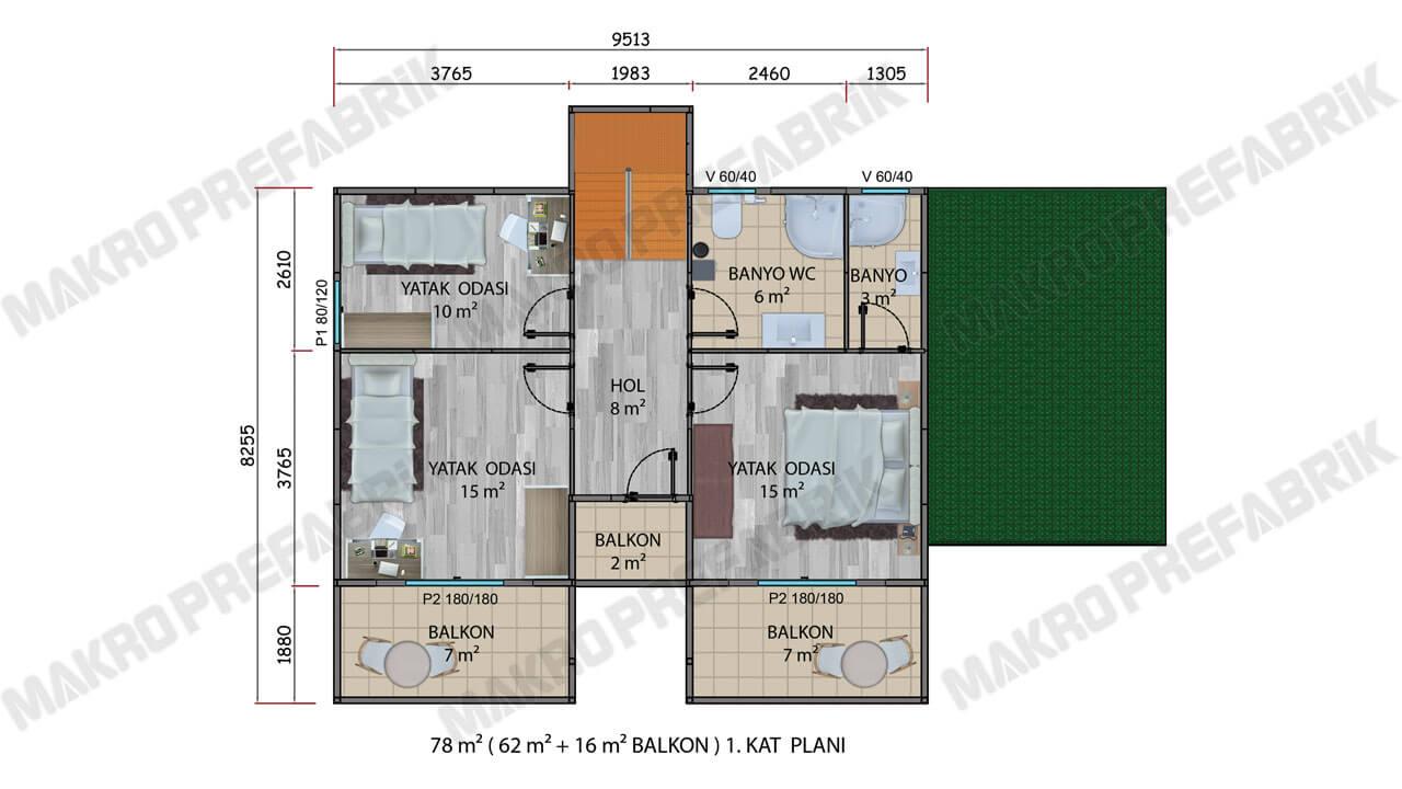 Prefabrik Villa 178 m² Kat 1 Planı 2