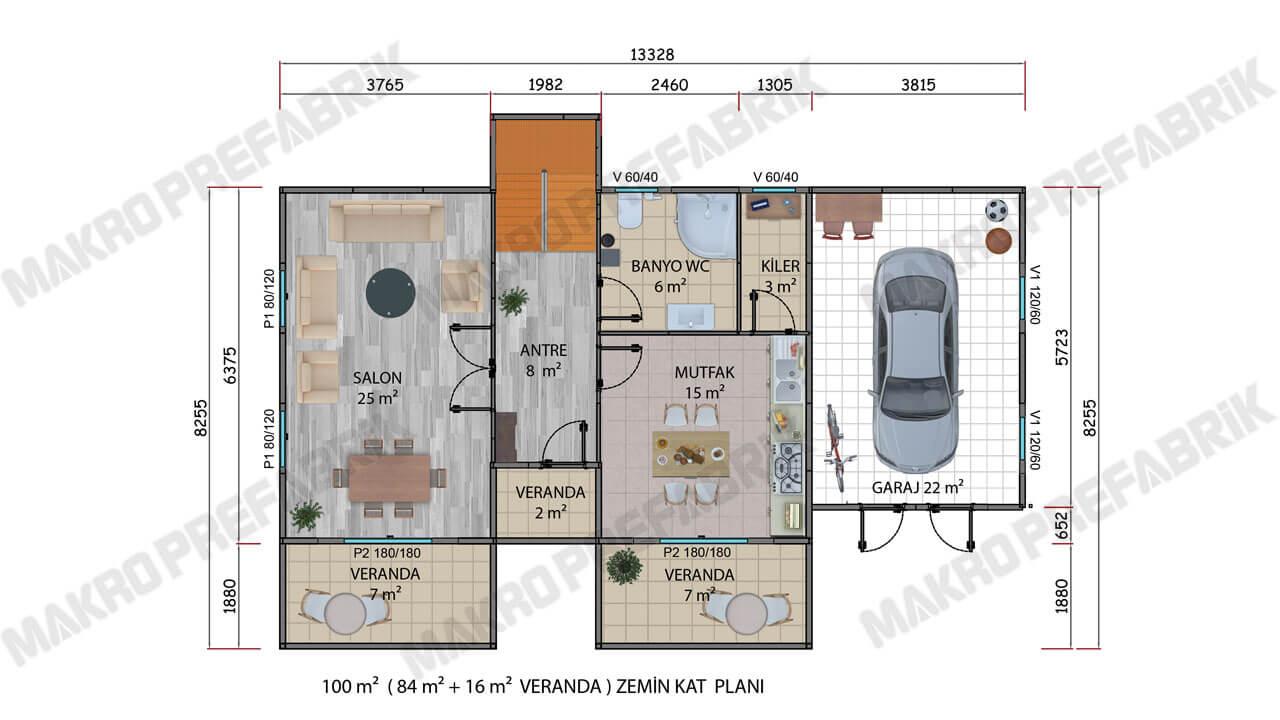Prefabrik Villa 178 m² Z Kat Planı 2
