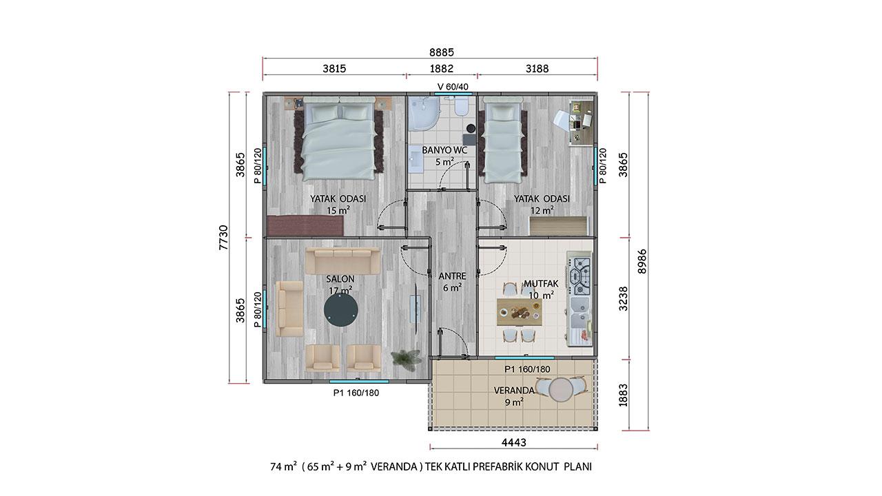 Prefabrik Villa 74 m² Planı