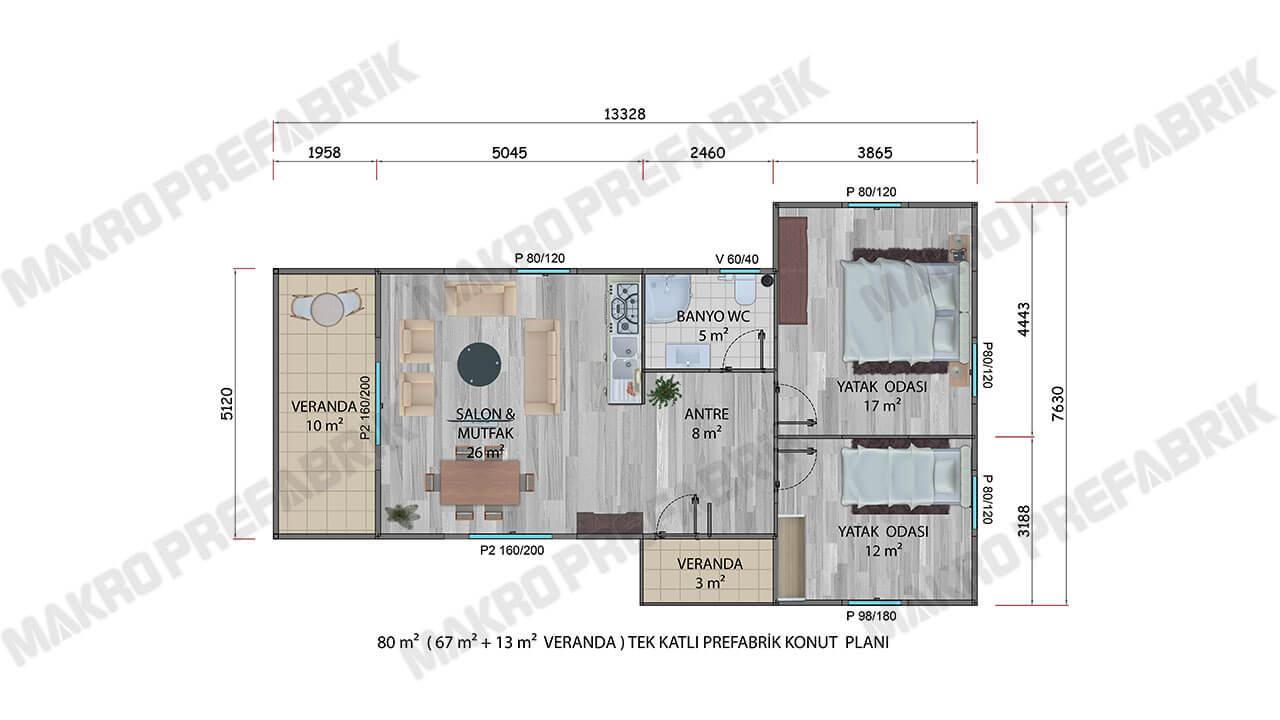 Prefabrik Villa 80 m² Planı