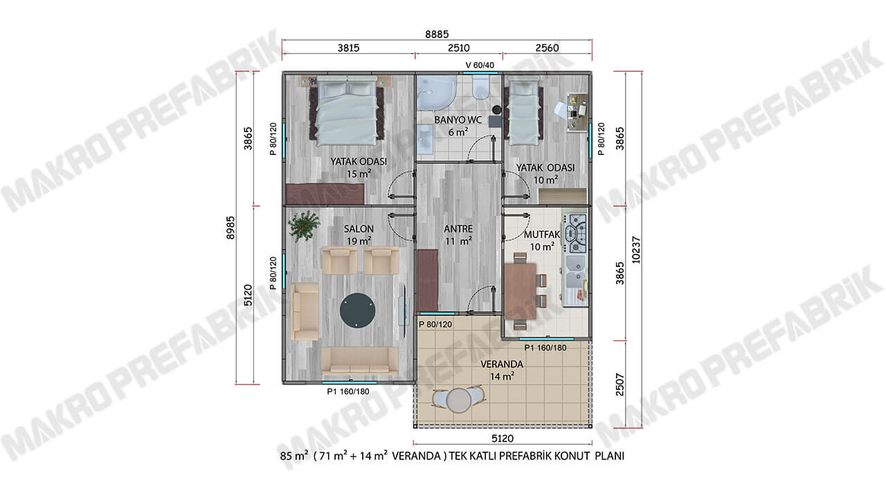 Prefabrik Villa 85 m² Planı