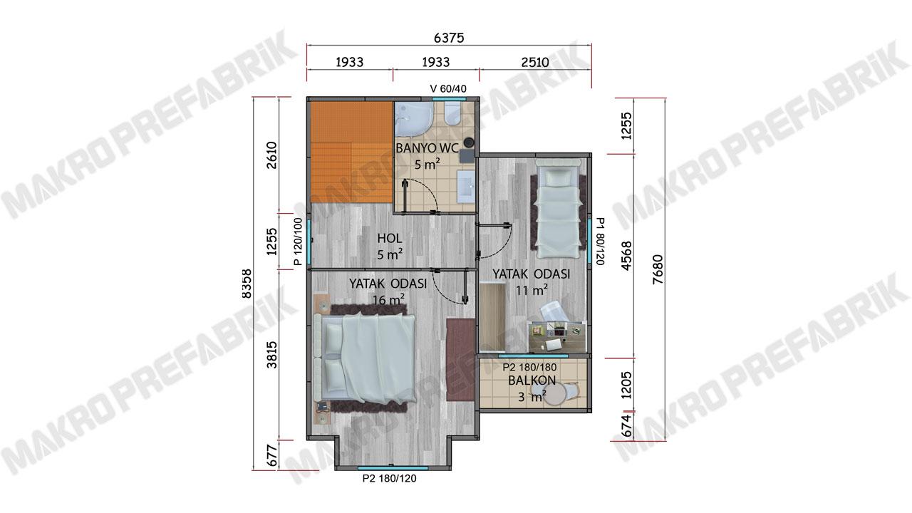 Prefabrik Villa 90 m² Kat 1 Plan
