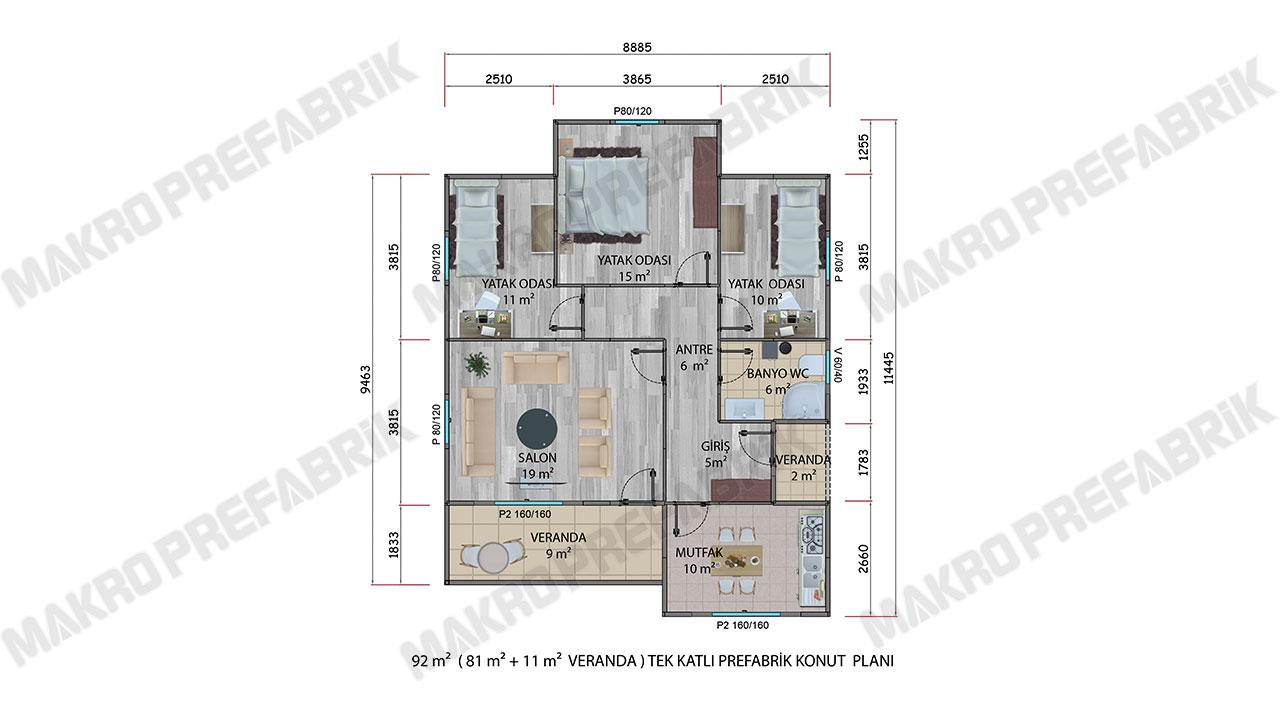 Prefabrik Villa 92 m² Planı