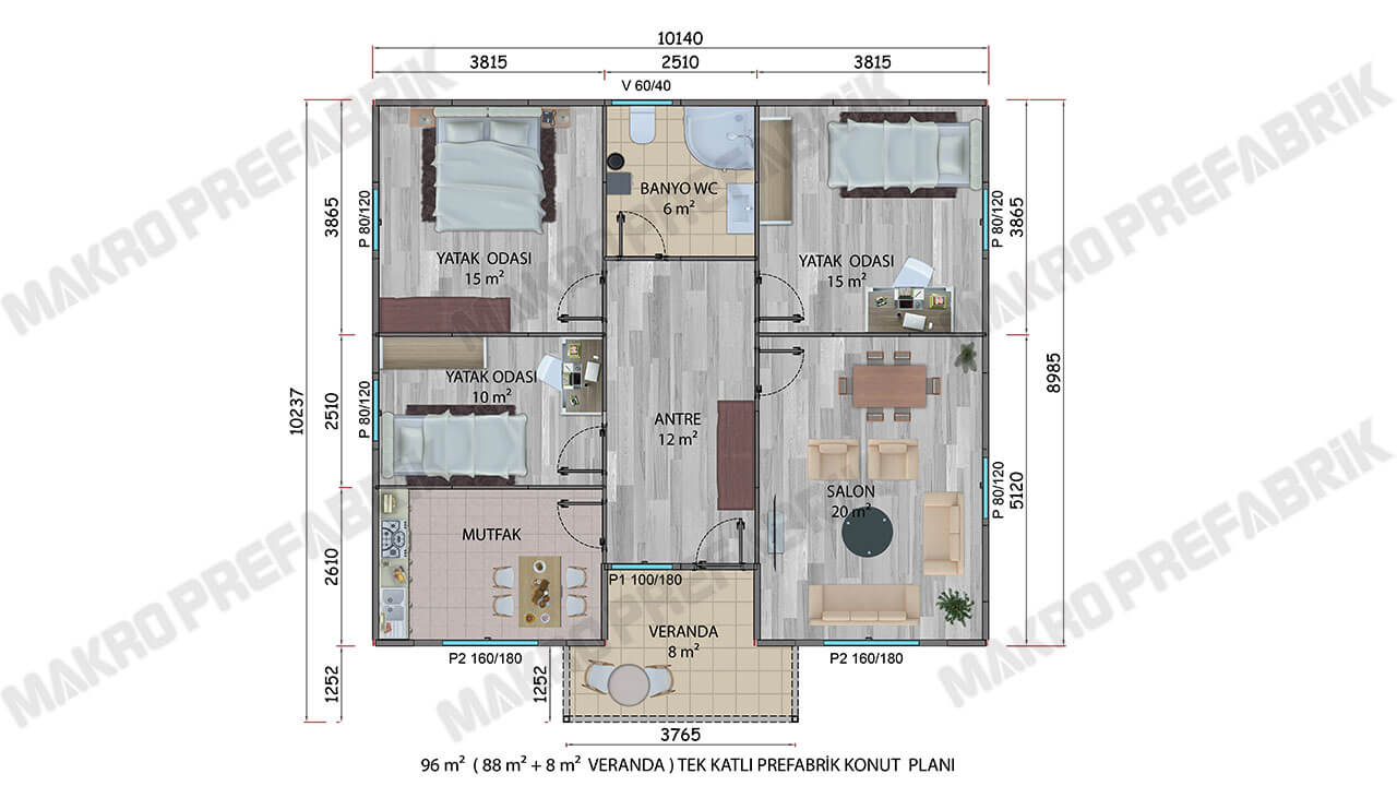Prefabrik Villa 96 m² Planı
