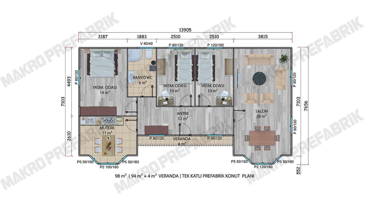 Prefabrik Villa 98 m² Planı